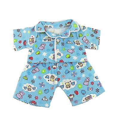 """Blue Flannel Pyjamas outfit / clothes to fit 16"""" build a bear factory bears"""