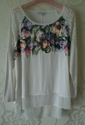Lakeland Floral Lace Long Sleeve T Shirt Top Size 14