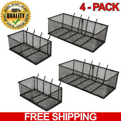 Wall Peg Board Baskets Garage Storage Organizer Pegboard Bins Steel Tool, 4-Pack