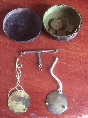 Antique Miniature Brass Apothecary Scales In Lined Tin