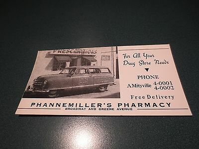 1951 Nash Airfliyte Delivery Wagon Phannemiller Pharmacy Amityville Ink Blotter