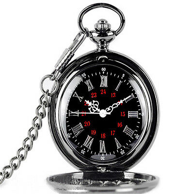 Pattern Vintage With Chain Display Pocket Watch Roman Numbers Hollow Pointer