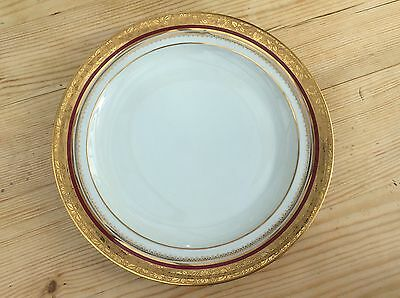 Limoges Gold And Red Dinner Plate