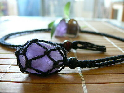Hand Made Hemp Macrame Pouch Necklace (Interchangeable) Black & 1 Tumble stone