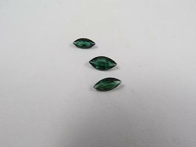Set of 3 Marquise Blue Green Tourmaline. 2.88 carat Total Weight
