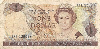 New Zealand  $1 ND. 1981  P 169a  Series AFE  Que. II Circulated Banknote WNS16J
