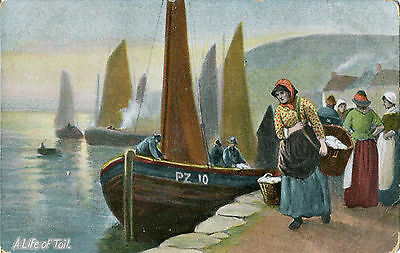 1910s Postcard A Life of Toil on the Quayside in Cornwall Penzance?