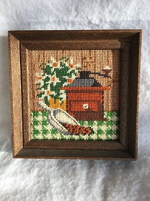 Vintage Mid-Century Mod EMBROIDERED PICTURE Coffee Grinder with Beans - Cool~