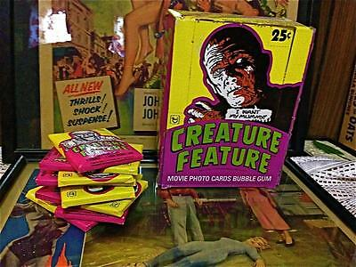 CREATURE FEATURE Topps Box With 8 Full Gum Card Packs Universal Movie Monsters