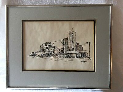 Signed Vintage Railroad Town Grain Elevator and Flour Mill Pen & Ink Drawing!