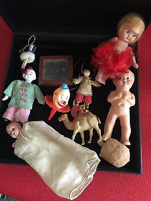 Collection of Vintage Tiny Bisque, Cupie, Oriental Minis with Odd Pieces-Childs