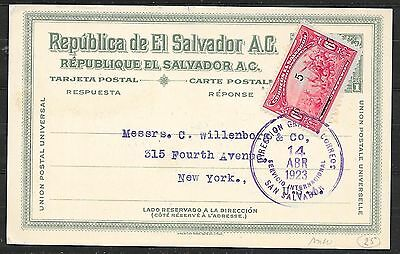El Salvador covers 1923 uprated private Bank PC to New York