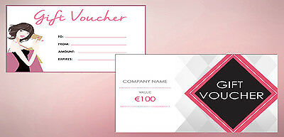 Personalised Gift Vouchers x50 With Envelopes | 200x90mm | FREE DESIGN| Business