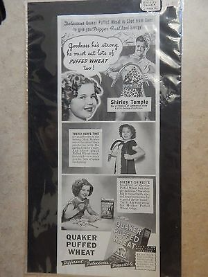 1938 Shirley Temple/Quaker Puffed Wheat Advertisement