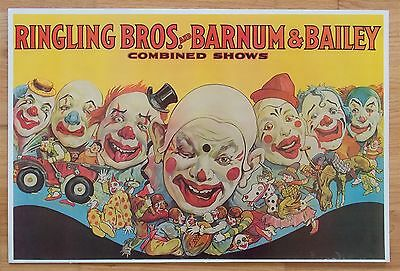 Ringling Brothers Bros Barnum and Bailey Circus Poster Combined Shows - Clowns