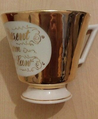 OLD ANTIQUE GERMAN VICTORIAN CHINA CUP PRESENT FROM TOW LAW (County Durham)