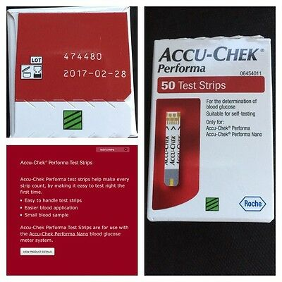 Blood Glucose Test Strips Accu-Check Performa 50 New Unused Exp 2/2017