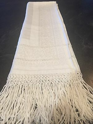 Large Hand Tied Damask White Vintage Show Towel