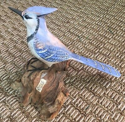 Hand Crafted Walter T Powell Blue Jay Bird On Driftwood