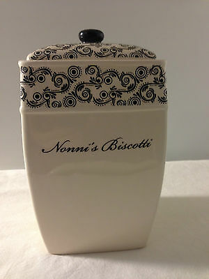 """BISCOTTI  PAISLEY FLORAL DESIGN COOKIE JAR FOR NONNI'S  7 """" Tall  HAND PAINTED"""
