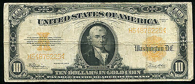 Fr. 1173 1922 $10 Ten Dollars Gold Certificate Currency Note Very Fine