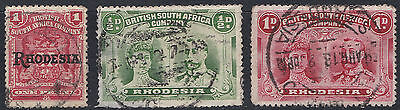 Rhodesia: 1909 & 1910,  1d, 1/2d and 1d, used