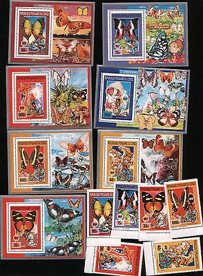 Congo 2001 mushrooms insects scouts butterflies 6v+7s/s MNH