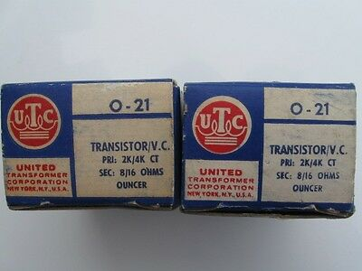 Matched Pair UTC O-21 PRI 2K/4K CT SEC 8/16 OHMS AUDIO  TRANSFORMERS