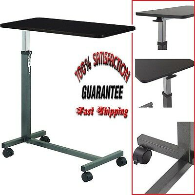 Hospital Over Bed Table Adjustable Rolling Desk Overbed Laptop Food Tray Stand
