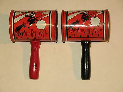 2~Vintage Halloween Witch,Bat,Ghost,Owl,Moon, Tin Litho Noisemakers, U.S.A.