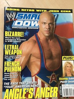 Wwe Smackdown Magazine October 2004 Wwf Wrestling Rare Kurt Angle