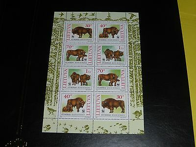 Timbres de Lituanie neuf petite feuille WWF bisons