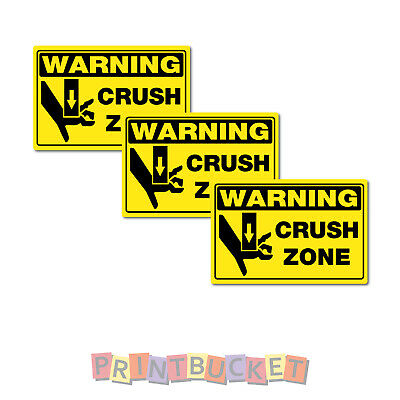 Crush Zone hand sticker 100mm 4  Pack oh&s safety compliant water/fade proof 7yr