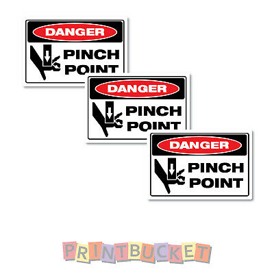 Pinch Point stickers 100mm 4  Pack oh&s safety compliant water/fade proof 7yr