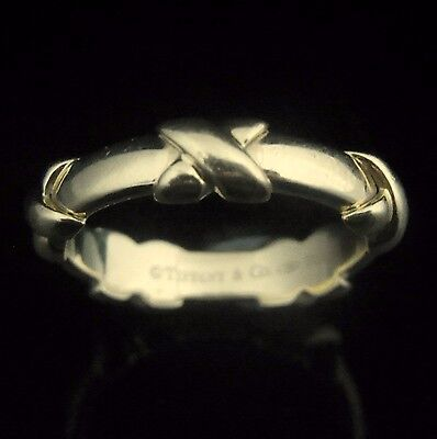 Tiffany & Co 18k Yellow Gold X Ring Estate Signed Band Anniversary Sz 6.5