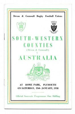 1958 - South-Western Counties v Australia, Touring Match Programme.