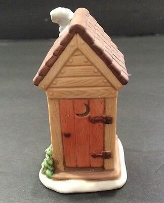 1989 Lefton Outhouse Colonial Village Christmas Hand Painted China  # 07325