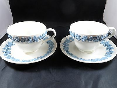 Set Of 2 - Wedgwood Queensware Embossed Lavender On Cream  Cups & Shell Saucers
