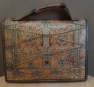 Vintage GOLD Embossed WALLET with HANDLE Strap and Removable MIRROR
