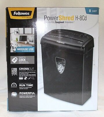 Fellowes PowerShred H-8Cd 8-Sheet Paper Shredder, Model CRC46848