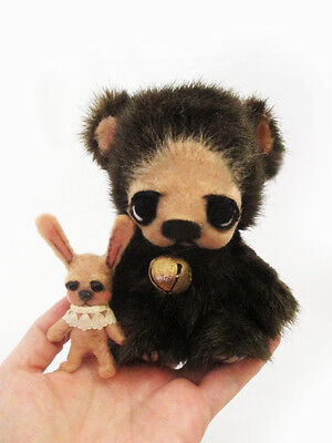 "OOAK Mini Jointed Bear ""Yummy"" & Toy Bunny ~ Artist Handmade Bear By Michele Roy"
