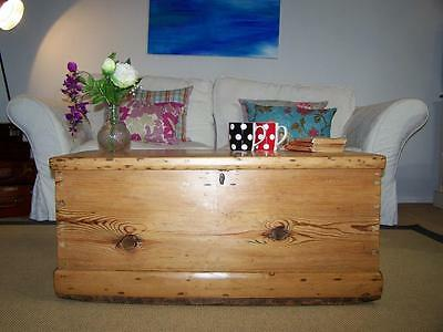 Antique Pine Chest Victorian Wooden Trunk COFFEE TABLE Blanket Toy Box
