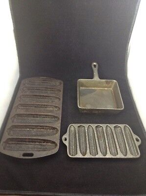 Lot 3 vintage cast iron cornbread pan cookware kitchenware shaped ear of corns