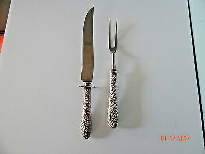 S. Kirk & Son Sterling Silver 2PC Meat Serving Carving Set Knife & Fork Repousse