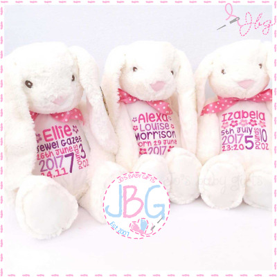 Personalised Bunny Rabbit Teddy Bear,New baby/Christening/Easter/Flowergirl Gift