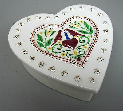 OAKHURST POTTERY__Antique Heart Shaped Hand Painted Trinket Box__ExC_SHIPS FREE