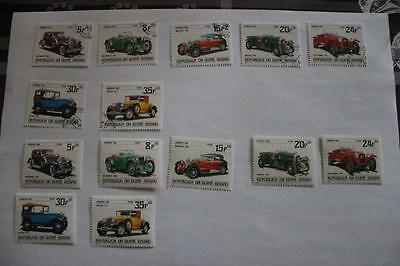 Automobile 7 TIMBRES NEUFS 7 OBLITERES GUINEE BISSAU