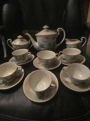 Vintage Japanese Eggshell Porcelain Lithophane Tea Set