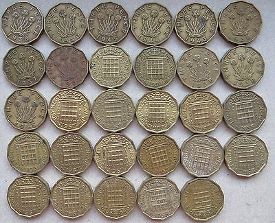 BRASS THREEPENCES LOT x 29 - SEE DESCRIPTION AND SCAN