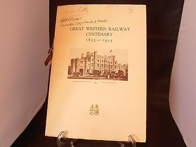 1835-1935 Gwr Centenary Booklet With Luncheon Menu & Programme